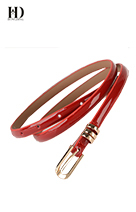 HongDing Red Candy Color Cowhide Leather Thin Jeans Belts with Pin Buckle for Women