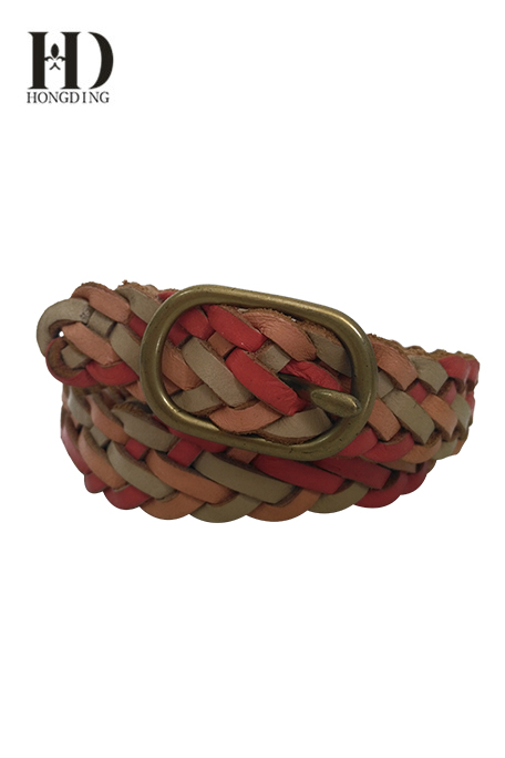 Women's Braided Leather Belt With Anti Brass Buckle