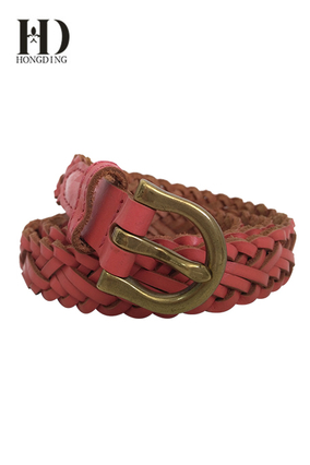 Women's Braided Skinny Narrow Leather Belt