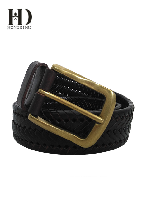 Men's Leather Belt with Lacing Details