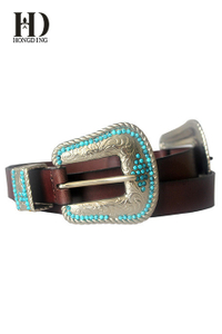 Women's Double Buckle Leather Western Belt & Cowgirl Belts