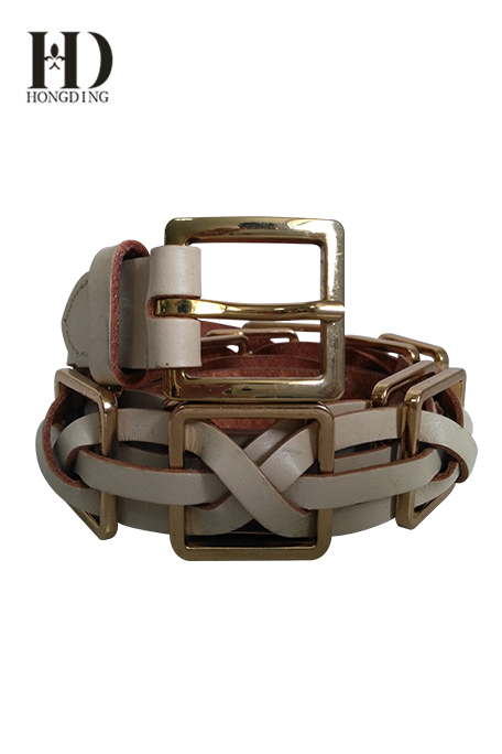 Women's Braided chain Belt With Golden Buckle