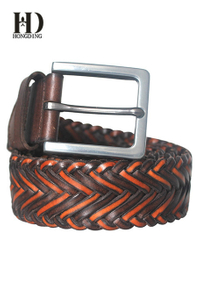 Womens brown braided leather belts with metal buckle and leather keeper