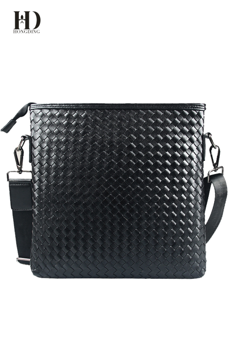 HongDing Black Business Braided Shoulder Bags High Quality PU Leather Messenger Bags For Men
