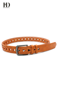 HongDing Light Brown Braided Hollow-Out PU Belts With Pin Buckle For Women and Men