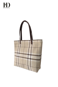 Cotton-Linen Mixed Fabric Plaid Handbags for Women