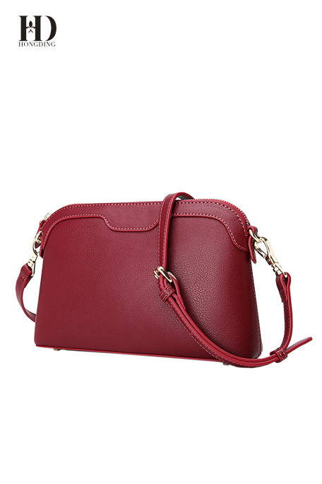 HongDing Wine Red Color Genuine Cowhide Leather Handbags with Shoulder Strap for Women