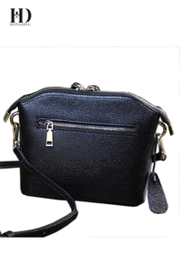 HongDing Black Lychee Genuine Cowhide Leather Shoulder-Bag with Double-Zipper for Women