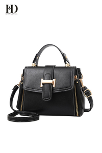 HongDing Black Stitches Elements PU Leather Handbags with Shoulder Strap for Women
