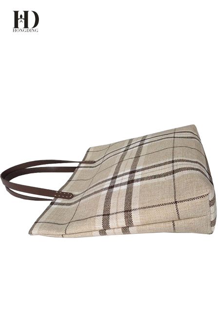 HongDing Retro Comfortable Cotton-Linen Mixed Fabric Plaid Handbags for Women