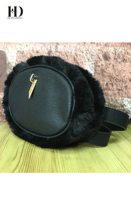 HongDing Black PU Leather Women Waist Bag With Adjustable Shoulder Strap