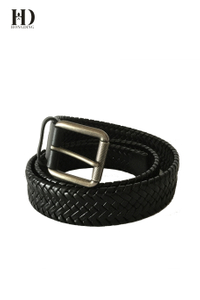 HongDing Black Veg Bonded Leather Braided Belts with Pin Buckle for Men