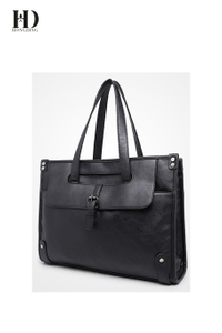 HongDing Black Large Capacity Business and Travel PU Leather Handbags and Shoulder Bags for Men