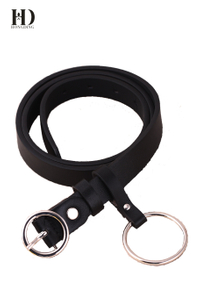 HongDing Black BF Style Women Skinny PU Belts With Ring Pin Buckle and Big Ring For Jeans