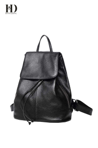 HongDing Black Leisure Genuine Cowhide Leather Women's Backpacks