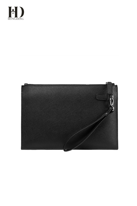 HongDing Black Stylish Business Saffiano Cowhide Leather Handbags File Bags for Men