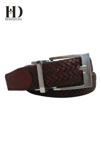Maroon Braided Leather Belts for Men