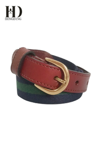 Mens Leather Webbing Belt
