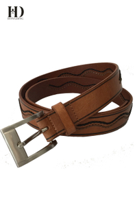 HongDing Brown Double Color Wave Rope Genuine Leather Belts With Pin Buckle For Women