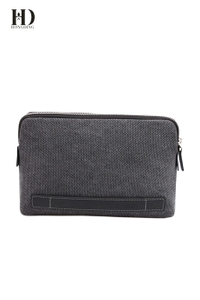 HongDing Grey Big Capacity High-Quality Canvas Handbags with Smooth Zipper for Men