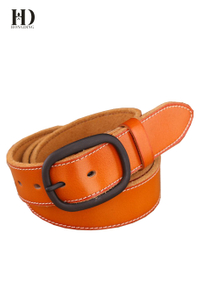 HongDing Khaki Genuine Leather Belts with Central Bar Buckle Retro Jeans Belt for Men