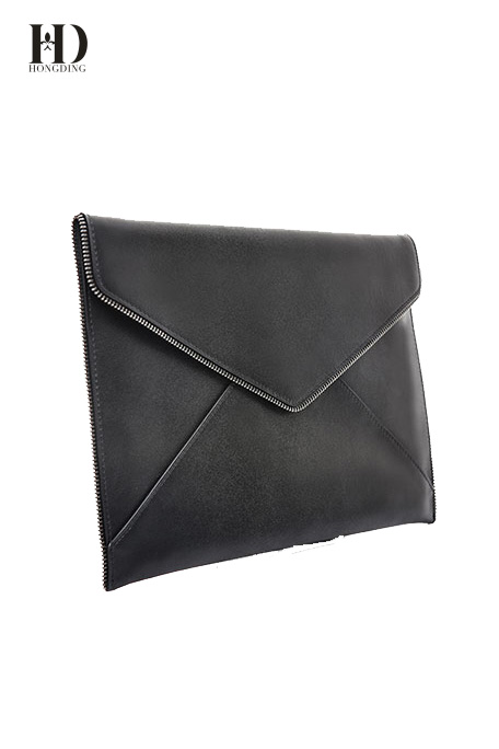 HongDing Black Envelope Type Design and Metal Style Genuine Leather Clutch Purses For Women