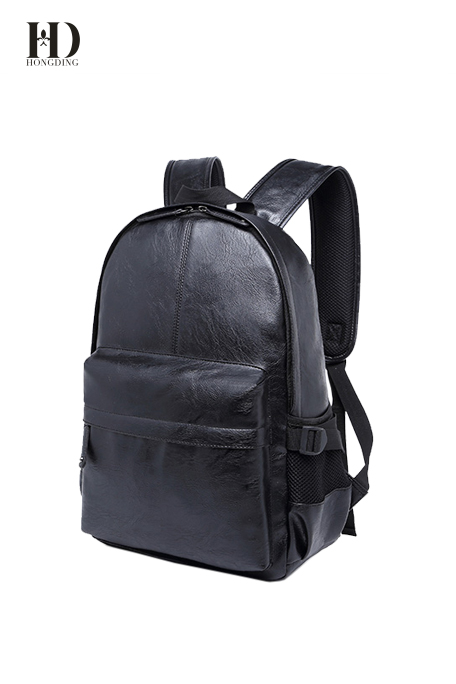 HongDing Black High-Quality PU Leather Backpack and Computer Bag for Men