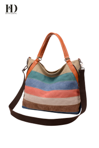 HongDing Contrast-Color Big Capacity Canvas Travel Handbags with Shoulder Strap for Women